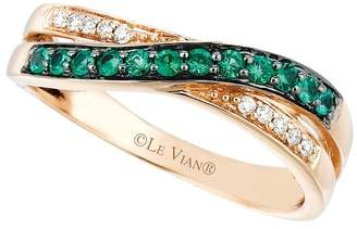 LeVian Le Vian Women's Vanilla Diamond, Emerald and 14K Strawberry Gold Ring