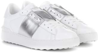 Valentino Open metallic leather sneakers