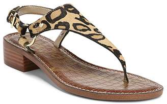 Sam Edelman Women's Jude Leopard Print Calf Hair Thong Sandals