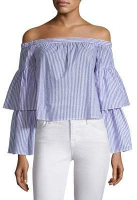 BCBGMAXAZRIA Striped Off-The-Shoulder Top