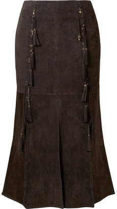 Chloé Fringed Suede Midi Skirt - Brown