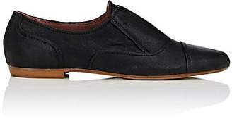 Barneys New York WOMEN'S LEATHER LACELESS OXFORDS - BLACK SIZE 7