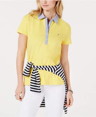 Tommy Hilfiger Short-Sleeve Chambray-Trim Polo Shirt