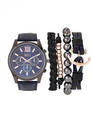 American Exchange MST5325 Gunmetal & Blue Watch & Bracelet Set