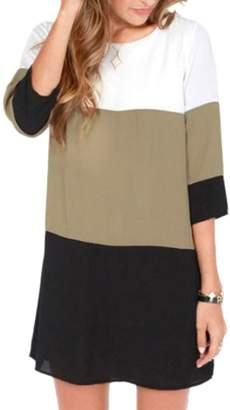 Sevozimda Women Casual 3/4 Sleeves Scoop Neck Color Block Tunic OL Shift Chiffon Shirt Dress 3XL