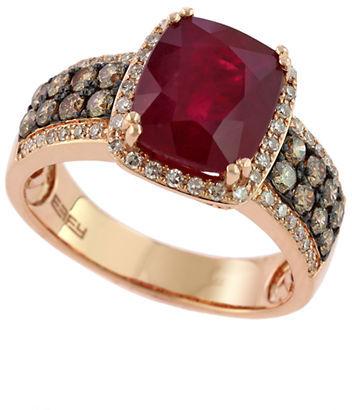 EFFY Red Velvet 14Kt. Rose Gold Ruby Ring with Brown & White Diamonds