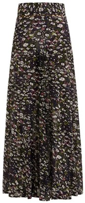 Ganni Floral Print Georgette Maxi Skirt - Womens - Black Multi