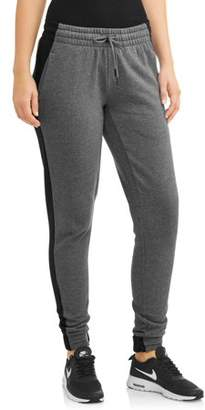 Athletic Works Women's Fleece Jogger Pant with Contrast Side Stripe