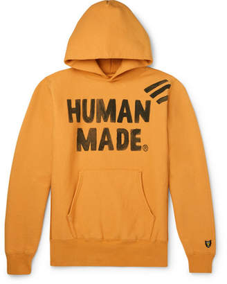 Human Made - Logo-Print Fleece-Back Cotton-Jersey Hoodie - Men - Orange