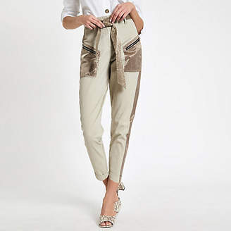 River Island Womens Beige satin detail belted cargo trousers