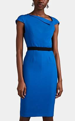 15cf690733b Narciso Rodriguez Women s Virgin Wool Gabardine Asymmetric-Neck Sheath Dress  - Blue