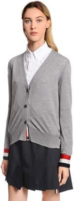 Thom Browne Grosgrain Cuff Fine Merino Wool Cardigan