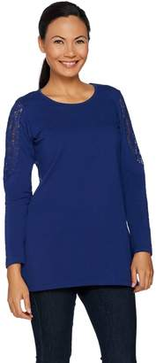 Denim & Co. Lace Cold Shoulder Long Sleeve Scoop Neck Tunic
