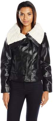 "GUESS Women's ""Almost Leather"" Jacket with Faux Fur Collar (Pu)"