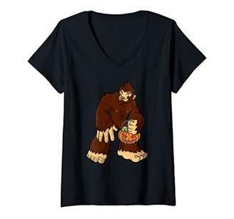 Womens Trick or Treating Bigfoot Funny Halloween Sasquatch V-Neck T-Shirt