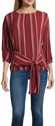 A.N.A Tie Front Striped Top 3/4 Sleeve Crew Neck Woven Embroidered Blouse