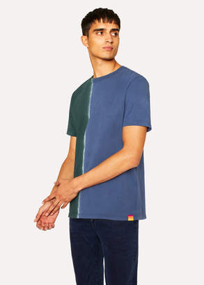 Paul Smith Men's Slate Blue And Green Tie Dye Effect T-Shirt
