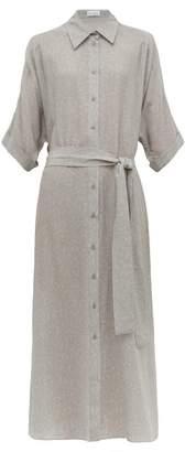 Raey Dolman Sleeve Belted Floral Print Silk Shirtdress - Womens - Grey Print