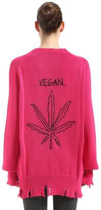 Vegan Destroyed Cotton Knit Cardigan