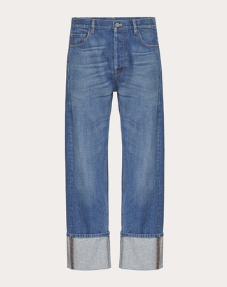 Valentino Baggy Fit Jeans Man Navy Cotton 100% 33