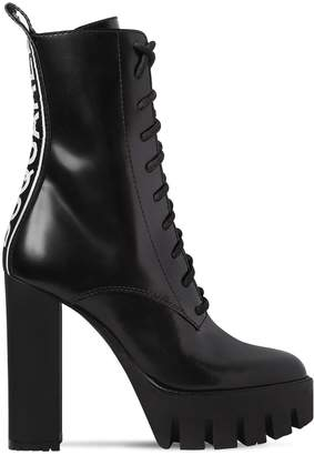 DSQUARED2 130mm Logo Brushed Leather Boots