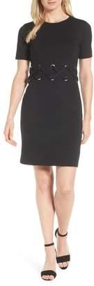MICHAEL Michael Kors Lace-Up Detail Ponte Shift Dress