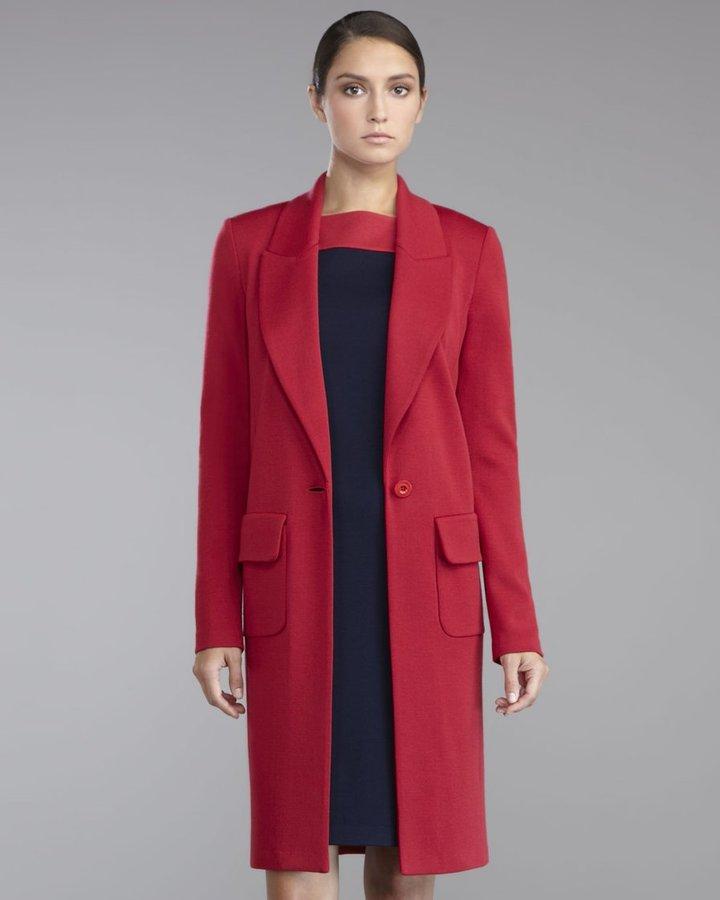 St. John Milano Knit Cocoon Jacket, Berry