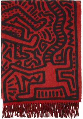 Études Red and Black Keith Haring Edition Magnolia All Over Print Scarf