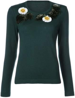 Oscar de la Renta flower and fringe embroidered sweater