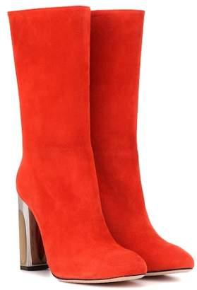 Alexander McQueen Metallic-heel suede boots
