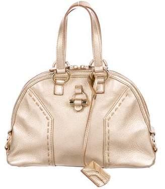 Saint Laurent Metallic Leather Muse Handle Bag