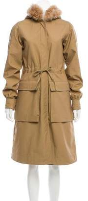 Celine Shearling-Trimmed Trench Coat w/ Tags