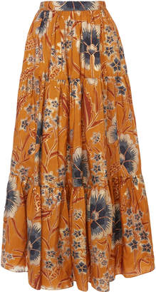 Ulla Johnson Chantal Floral-Print Silk Maxi Skirt Size: 0