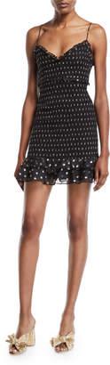 LIKELY Zephra Metallic Dot-Print Ruffle Mini Dress