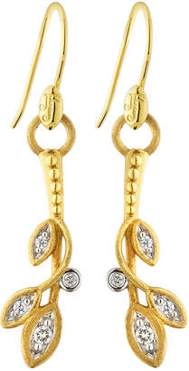 Jude Frances 18K Sonoma Long Diamond Leaf Earrings