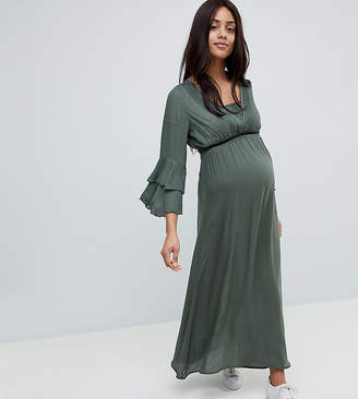 Mama Licious Mama.licious Mamalicious Woven Maxi Dress With Tiered Sleeve