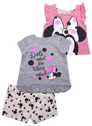 Minnie Mouse Ruffle Tee, Tank and Short, 3-Piece Outfit Set (Little Girls)