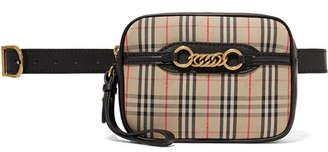 Burberry Embellished Leather-trimmed Checked Cotton-drill Belt Bag - Beige