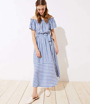 f8c684945759a LOFT Beach Mixed Stripe Off The Shoulder Dress