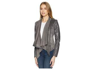 Blank NYC Faux Suede Drape Front Jacket in Charcoal Grey