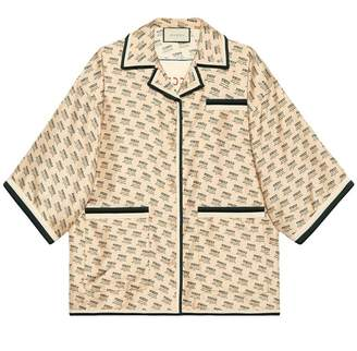 Gucci invite stamp silk shirt
