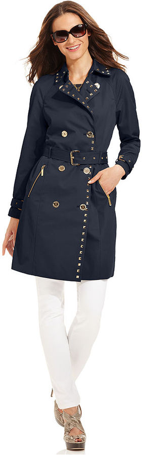 MICHAEL Michael Kors Coat, Belted Studded Trench
