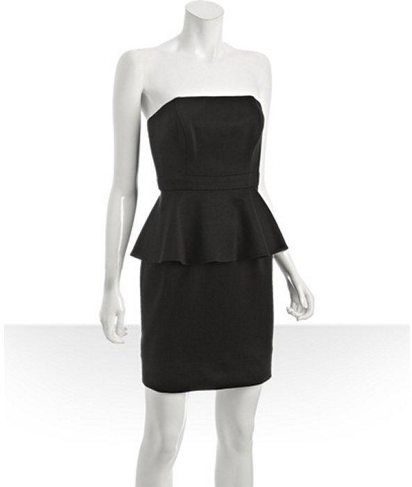 Shoshanna black doubleknit strapless peplum dress