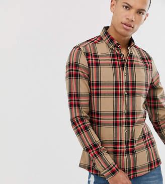 Asos Design DESIGN Tall slim check shirt in brown