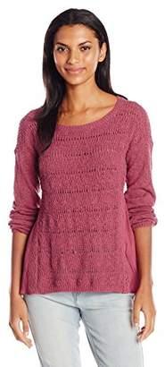Lucky Brand Women's Woven Mix Sweater