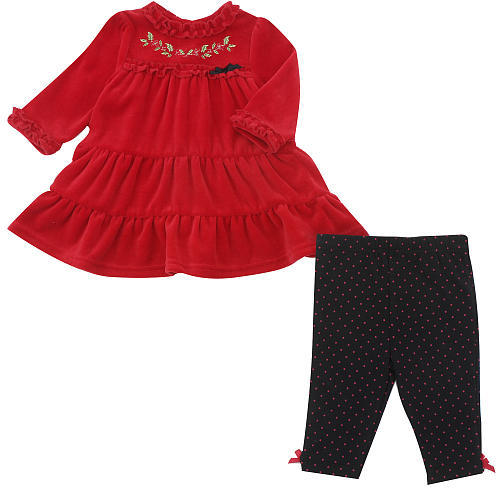 Little Me Childrens Wear Holly 2 Piece Velour Pant Set - Black Multi (3 Months)