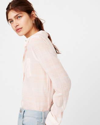 Express Striped One Pocket Cotton Boyfriend Shirt