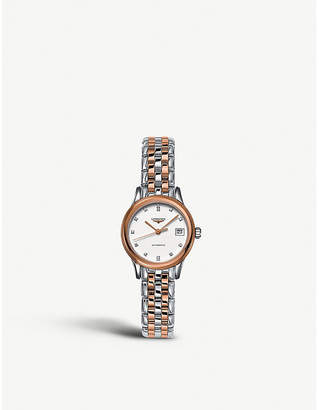 Longines L4.274.3.99.7 Flagship rose gold-plated, stainless steel and diamond watch