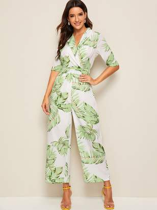 Shein Tropical Print Belted Wide Leg Jumpsuit
