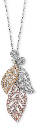 """Effy Diamond Tri-Color Leaf 18"""" Pendant Necklace (5/8 ct. t.w.) in 14k White Gold, 14k Rose Gold and 14k Gold"""